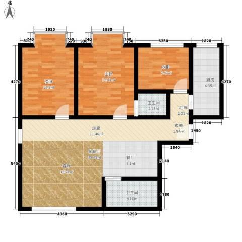 百花明珠3室1厅2卫1厨125.00㎡户型图