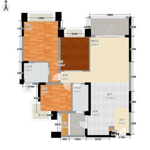 中澳滨河湾3室0厅2卫0厨126.00㎡户型图
