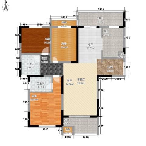 建业凯旋广场3室1厅2卫0厨134.00㎡户型图