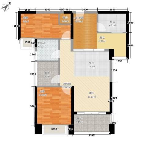 中澳滨河湾2室0厅1卫1厨94.00㎡户型图