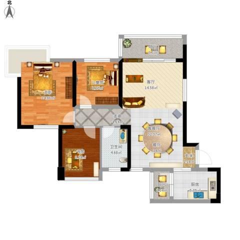 广州碧桂园城市花园3室1厅1卫1厨117.00㎡户型图