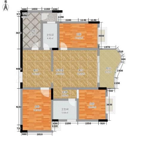 伴山名都3室0厅2卫1厨110.00㎡户型图