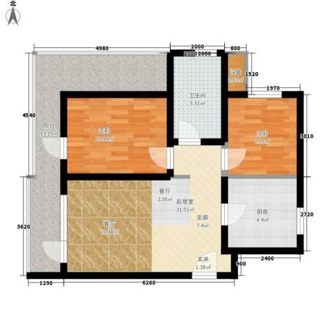万科城泽园2室0厅1卫1厨78.00㎡户型图