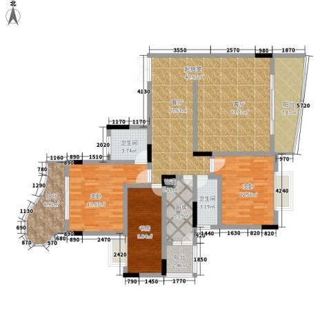 伴山名都3室0厅2卫1厨123.00㎡户型图