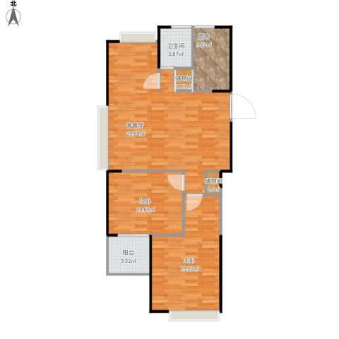 中楠时代花园2室1厅1卫1厨92.00㎡户型图