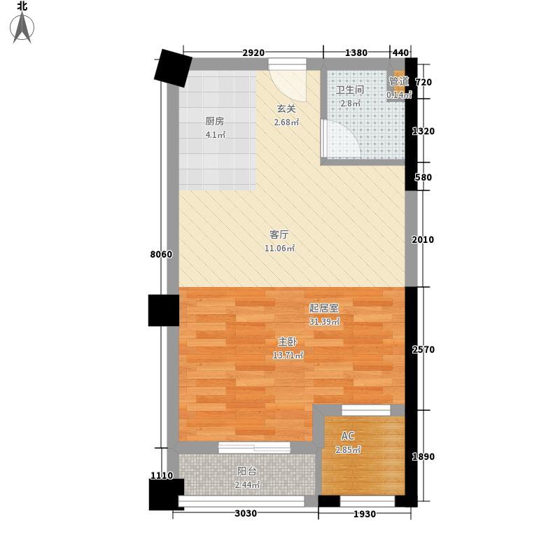 博仕后家园户型图B6户型 1室1厅1卫1厨