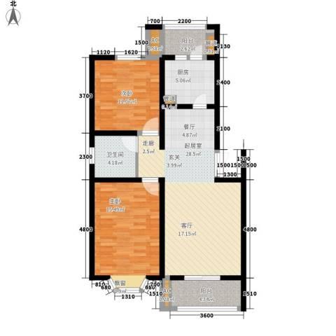 兰亭园2室0厅1卫1厨88.00㎡户型图