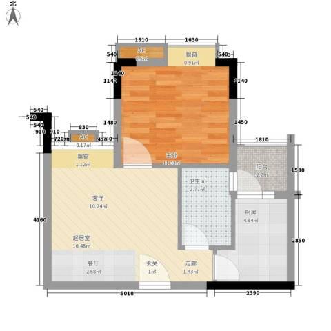 东田丽园五期1室0厅1卫1厨50.00㎡户型图