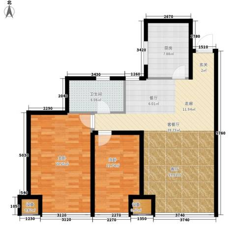 万科城泽园2室1厅1卫1厨105.00㎡户型图