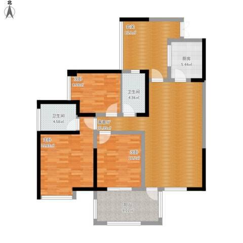 礼顿山1号3室1厅2卫1厨148.00㎡户型图