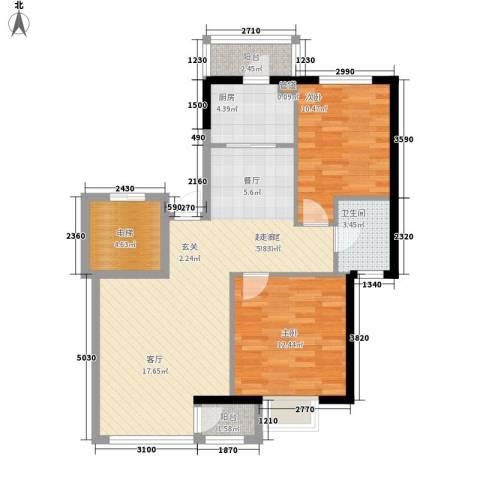凯荣国际花园2室0厅1卫1厨98.00㎡户型图