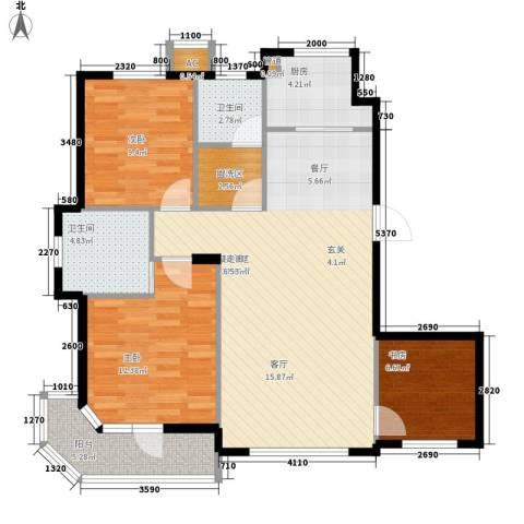 锦绣暖山3室0厅2卫1厨107.00㎡户型图