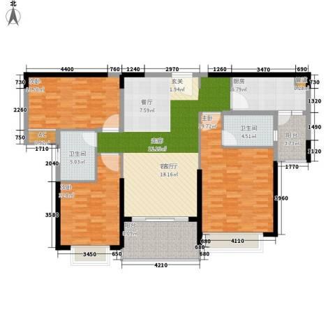 南昌恒大名都3室1厅2卫1厨125.00㎡户型图
