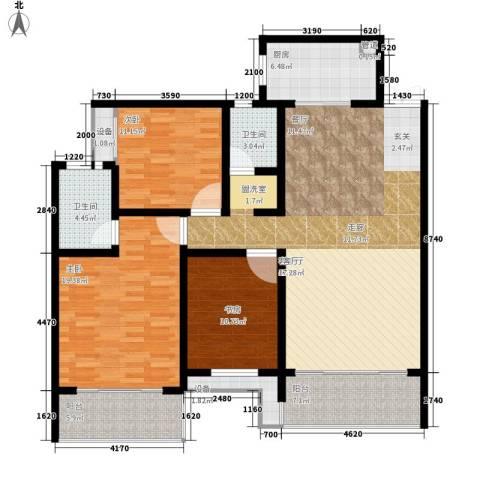 长房天翼未来城3室1厅2卫1厨130.01㎡户型图