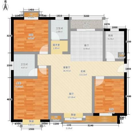 新福兴・面孔公社3室1厅2卫1厨122.00㎡户型图