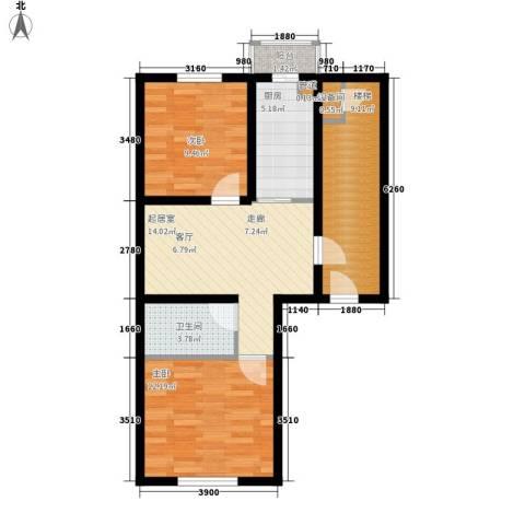 金美程家园2室0厅1卫1厨63.00㎡户型图