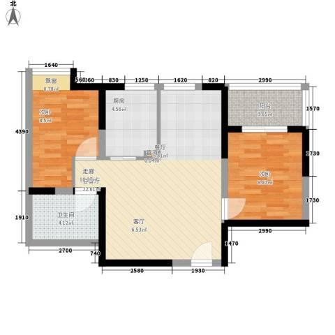 新西蓝一期2室1厅1卫1厨60.71㎡户型图