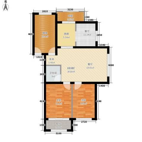 学府世家2室1厅1卫0厨86.00㎡户型图