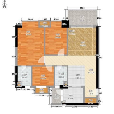 丰润阁3室1厅2卫1厨134.00㎡户型图