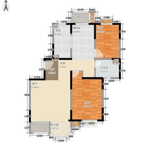 千岱名墅2室0厅1卫1厨132.00㎡户型图