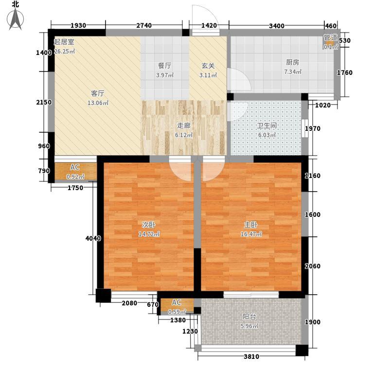 府西花园88.14㎡F户型2室2厅1卫1厨