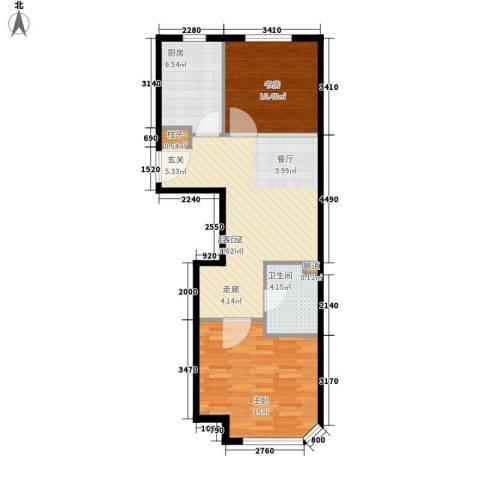 锦绣暖山2室0厅1卫1厨65.00㎡户型图