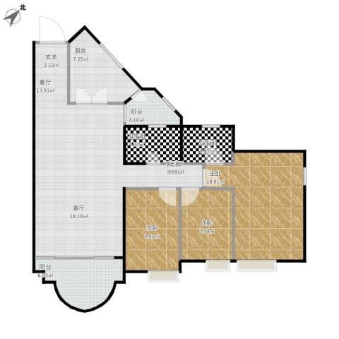 隆盛花园3室1厅2卫1厨134.00㎡户型图