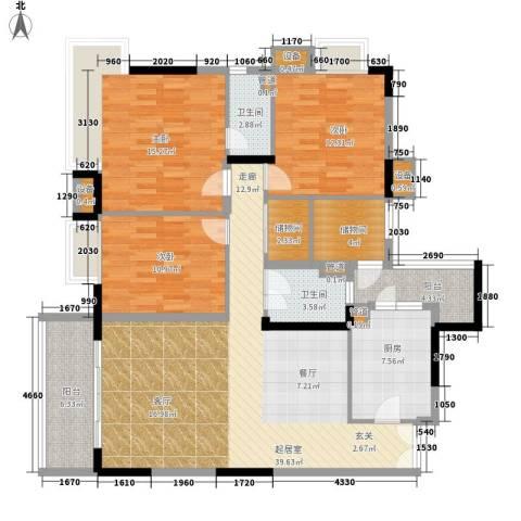 丰润阁3室0厅2卫1厨111.03㎡户型图