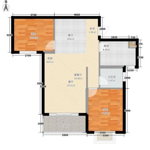 星海花园2室1厅1卫1厨100.00㎡户型图