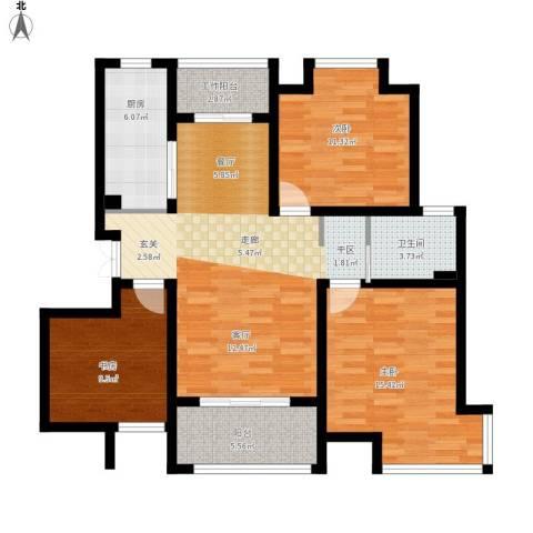 汇智湖畔家园3室1厅1卫1厨120.00㎡户型图