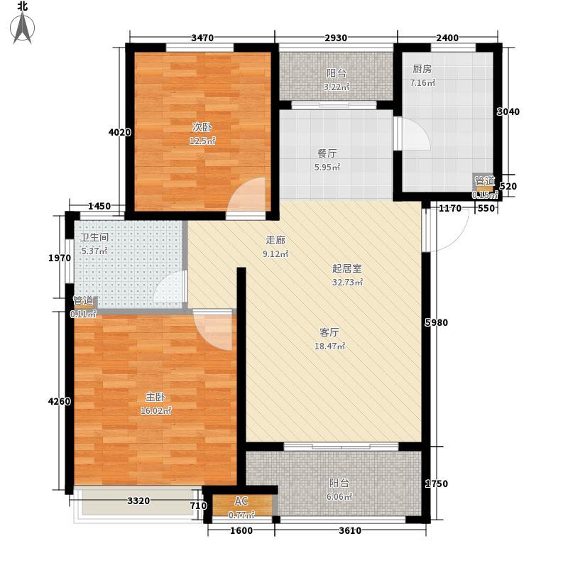 农房索河湾94.17㎡B1高层户型2室2厅