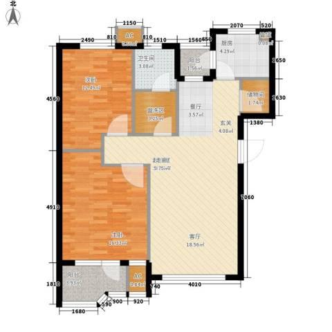 锦绣暖山2室0厅1卫1厨90.00㎡户型图