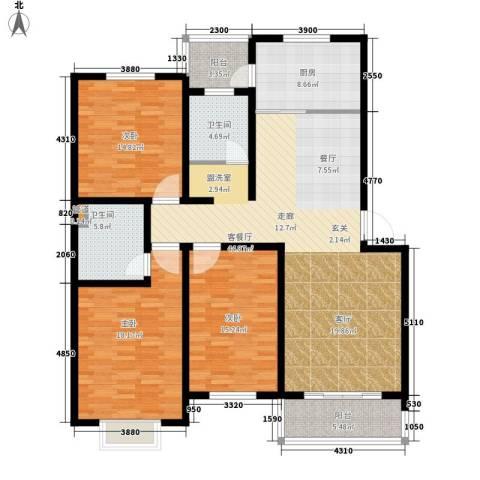 金海园3室1厅2卫1厨138.00㎡户型图