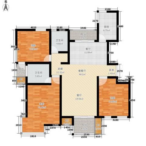 新港名墅花园3室1厅2卫1厨142.00㎡户型图