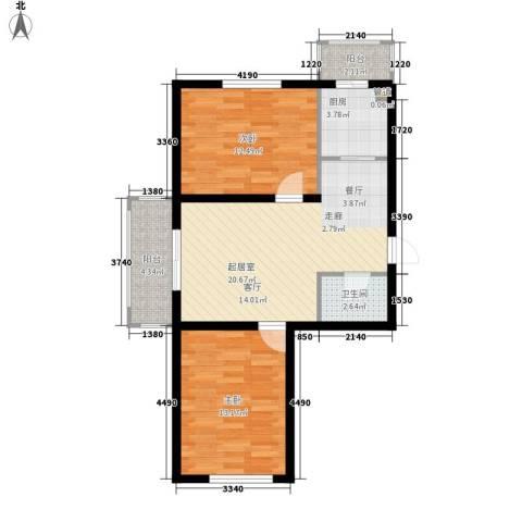 金美程家园2室0厅1卫1厨76.00㎡户型图