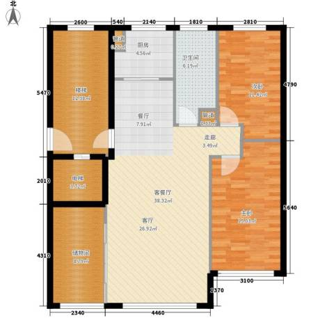 五四华庭2室1厅1卫1厨116.00㎡户型图