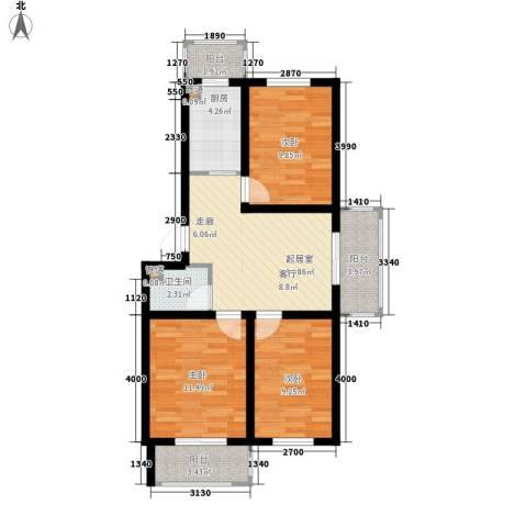 金美程家园3室0厅1卫1厨84.00㎡户型图