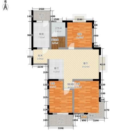 恒信・缔景名苑3室1厅1卫1厨115.00㎡户型图