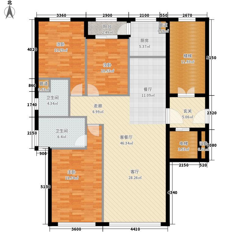 五四华庭户型图2号楼户型 3室2厅2卫1厨