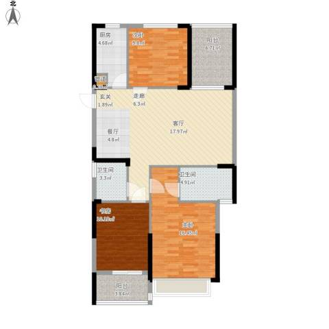 东湖御院3室0厅2卫1厨127.00㎡户型图
