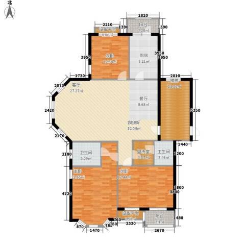 玉景公寓3室1厅2卫1厨158.00㎡户型图