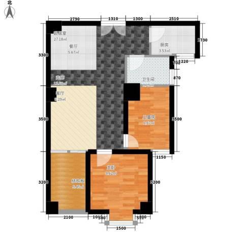 时代先锋2室0厅1卫1厨81.00㎡户型图