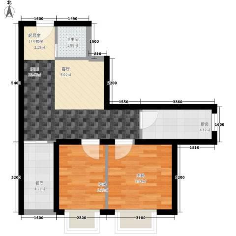 时代先锋2室1厅1卫1厨68.00㎡户型图