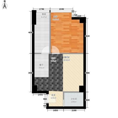时代先锋1室0厅1卫1厨62.00㎡户型图