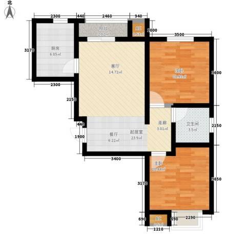 莱福花园2室0厅1卫1厨90.00㎡户型图