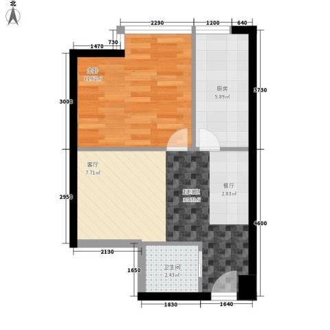 时代先锋1室0厅1卫1厨53.00㎡户型图