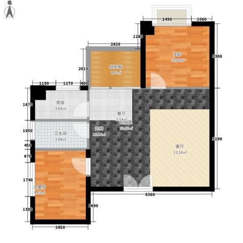 时代先锋2室0厅1卫1厨70.00㎡户型图