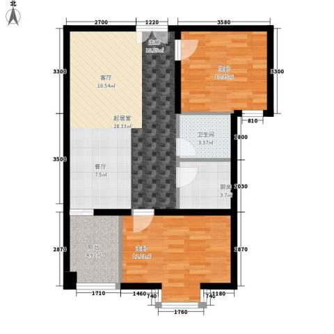 时代先锋2室0厅1卫1厨89.00㎡户型图