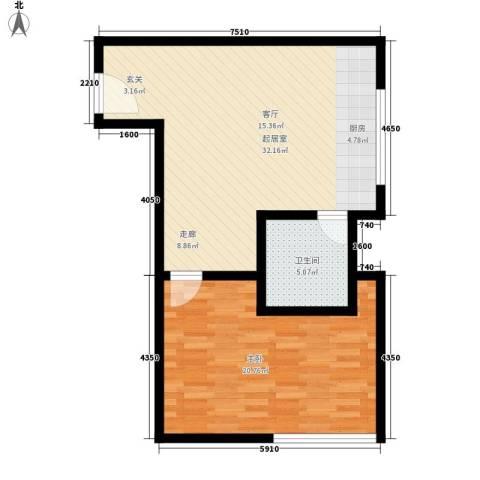 唯C商务广场1室0厅1卫0厨66.00㎡户型图
