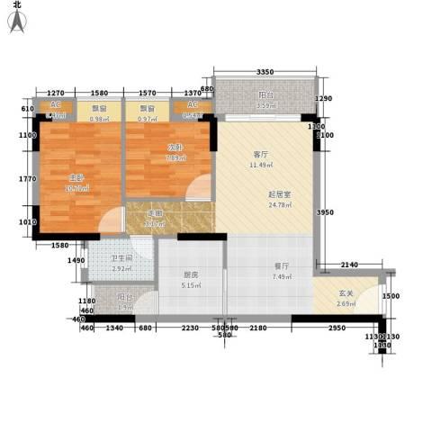 东田丽园五期2室0厅1卫1厨79.00㎡户型图